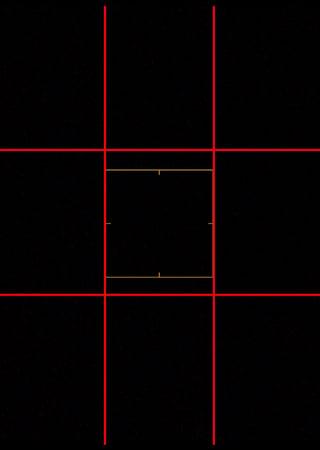 画面を縦横に三分割するグリッド線を表示した画面