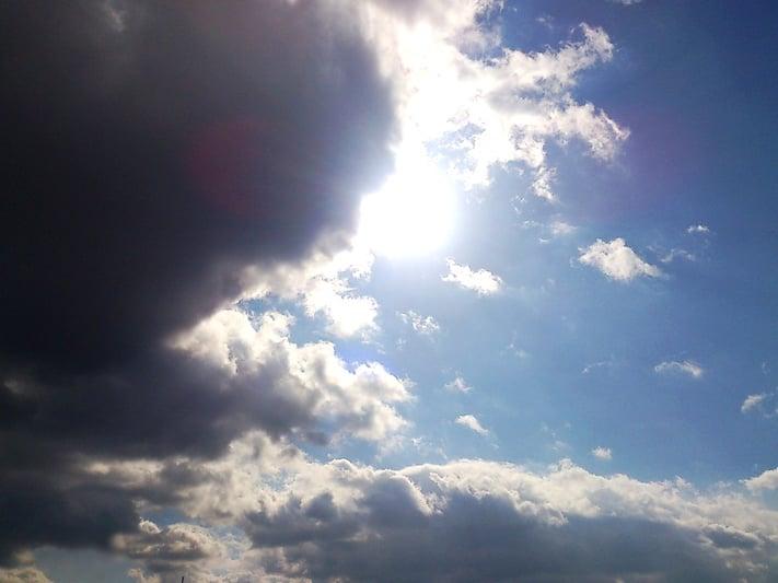 逆光で撮影した空と雲の写真